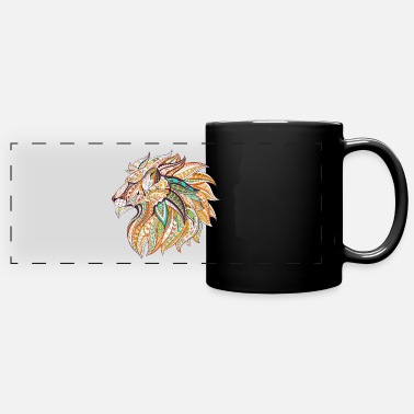 Ethnic Tribal Lion Doodle - Full Color Panoramic Mug