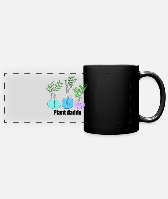 Father's Day Mugs & Cups - plant dad - Full Color Panoramic Mug black