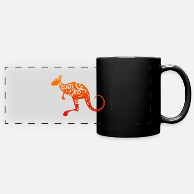 Tribal Maori Kangaroo Polynesian Tribal Tattoo Gift Idea - Full Color Panoramic Mug