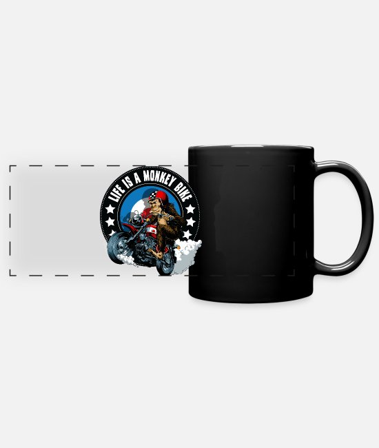 Motorcycle Mugs & Cups - Life is a monkey bike - Full Color Panoramic Mug black