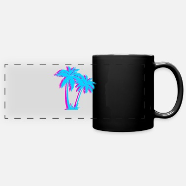 Tropical Beach Vaporwave Palm Tree Gift Aesthetic Tropical - Full Color Panoramic Mug