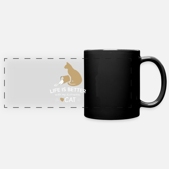 Love Mugs & Drinkware - Cat - Clumsy Clumsy - Cat Love - Love - Full Color Panoramic Mug black