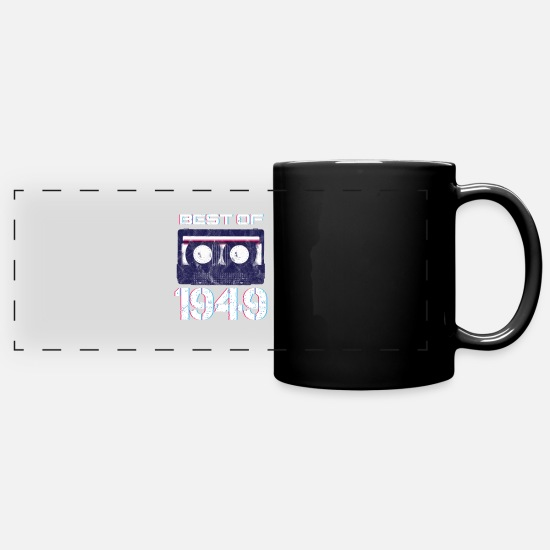 Birthday Mugs & Drinkware - Cassette Tape Retro Music Lover Best Of 1949 71 - Full Color Panoramic Mug black