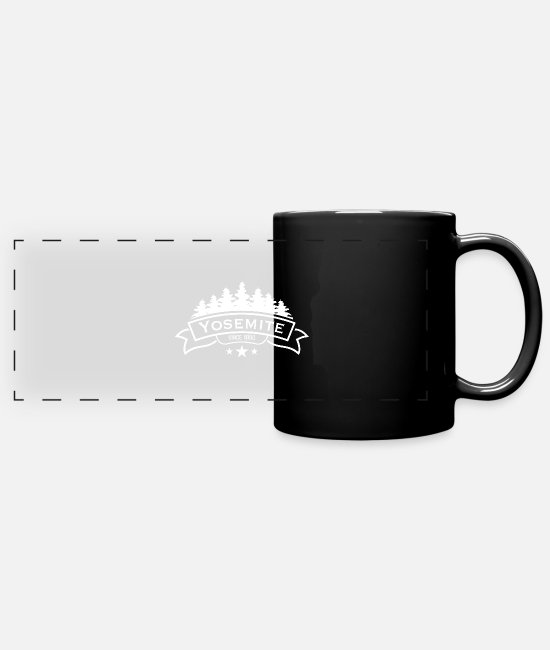 Mountains Mugs & Cups - Yosemite Since 1890 Logo - Full Color Panoramic Mug black