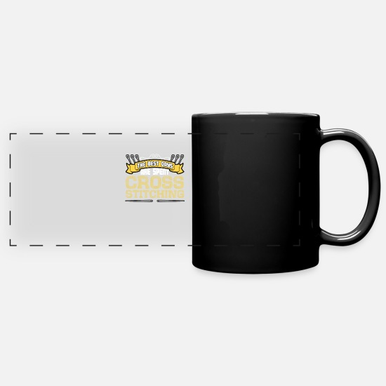Stitch Mugs & Drinkware - The best days are spent Cross Stitching - Full Color Panoramic Mug black