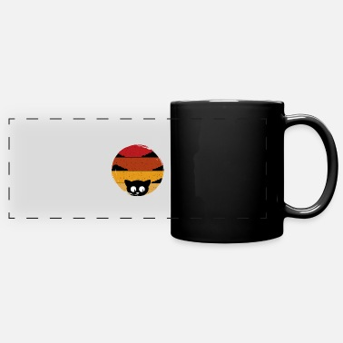 Yellow Black cat open eyes red yellow background present - Full Color Panoramic Mug