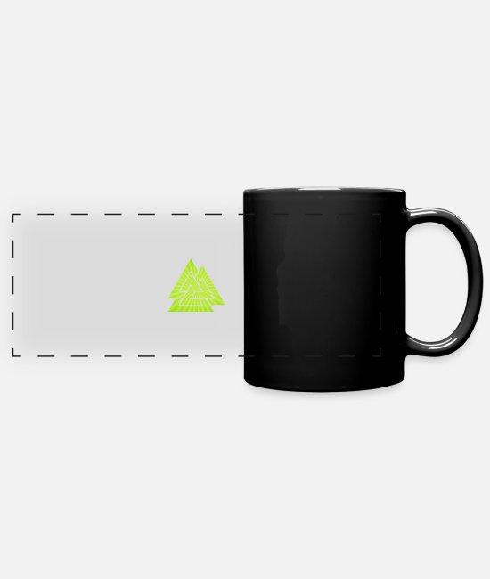 Warrior Mugs & Cups - Green Viking Rune - Full Color Panoramic Mug black