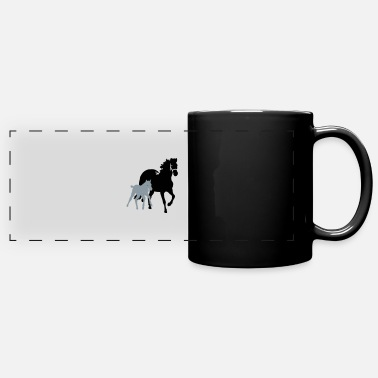 Mare mare with foal - Full Color Panoramic Mug