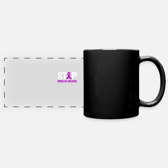 Domestic Mugs & Drinkware - Stop Domestic Violence Purple Ribbon T Shirts - Full Color Panoramic Mug black