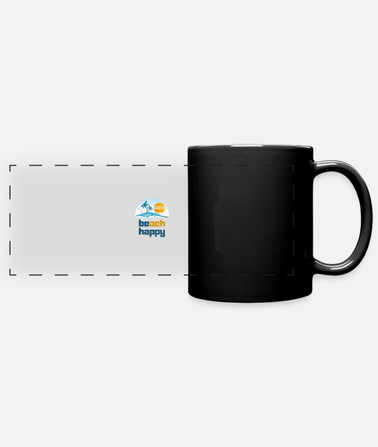 Wave Mugs & Cups - beach happy - Full Color Panoramic Mug black