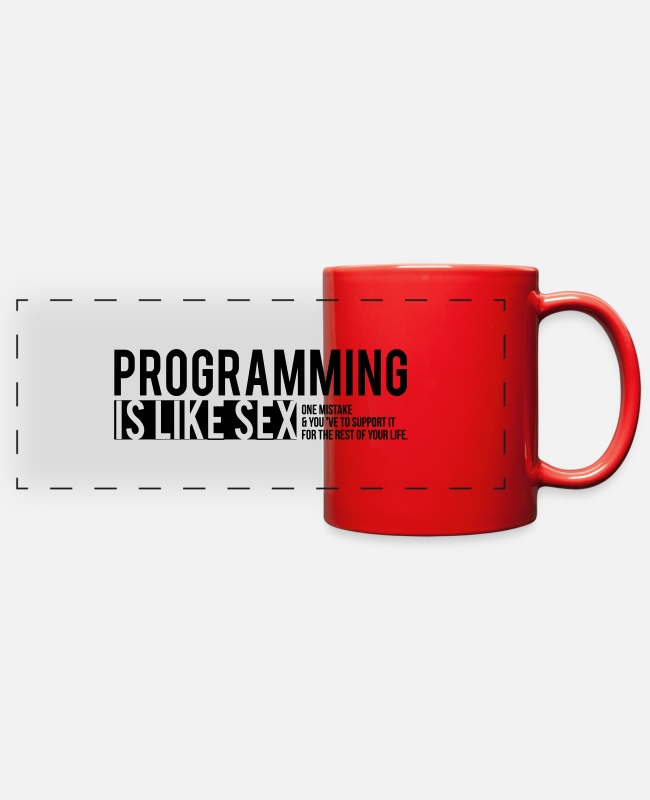 Heart Mugs & Cups - programmer T-shirt - Full Color Panoramic Mug red