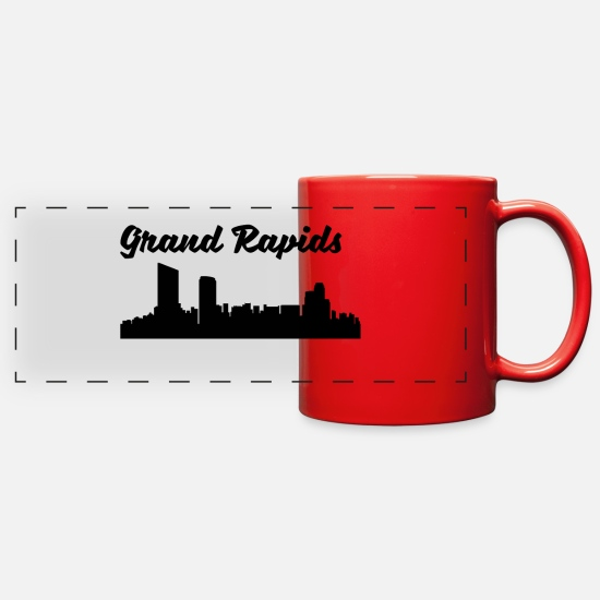 Silhouette Mugs & Drinkware - Grand Rapids MI Skyline - Full Color Panoramic Mug red