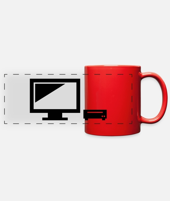 Program (what You Do) Mugs & Cups - PC monitor laptop present - Full Color Panoramic Mug red