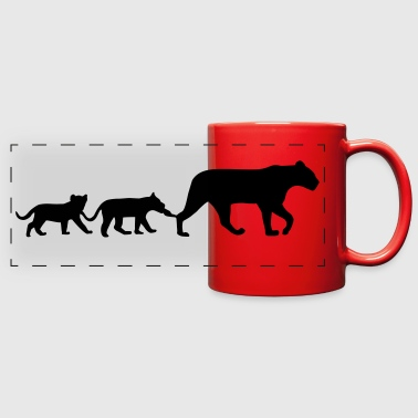 Lioness and lion cubs - Full Color Panoramic Mug
