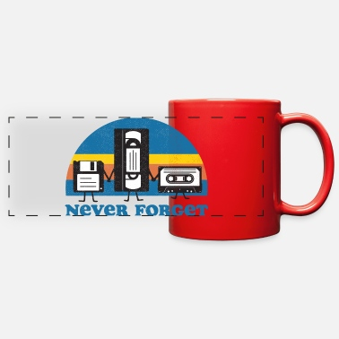 80s Never Forget Floppy Disk, VHS and Casette Tape - Full Color Panoramic Mug