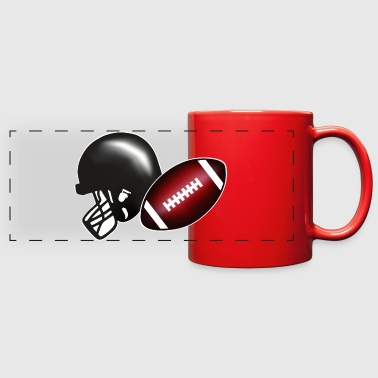 American football, football & helmet - Full Color Panoramic Mug