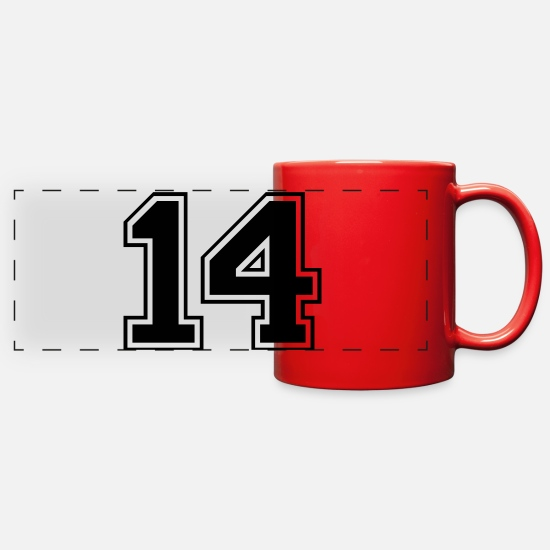 Number Mugs & Drinkware - Varsity Number 14 - Full Color Panoramic Mug red