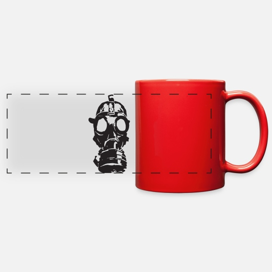 Hack Mugs & Drinkware - gas-mask - Full Color Panoramic Mug red