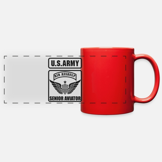 Aviation Mugs & Drinkware - SENIOR AVIATOR US ARMY AIR ASSAULT - Full Color Panoramic Mug red
