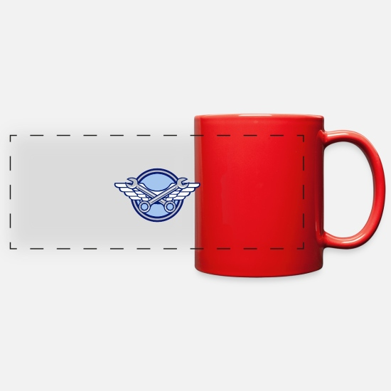 Aviation Mugs & Drinkware - Crossed Spanner Air Force Wings Icon - Full Color Panoramic Mug red