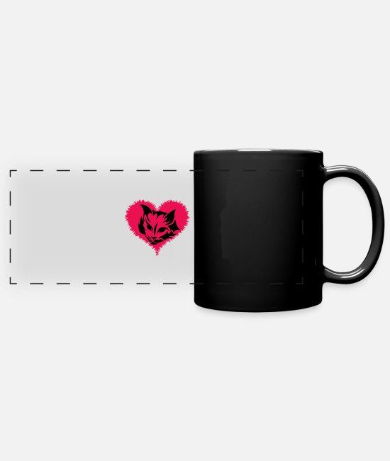 Heart Mugs & Cups - Cat Heart Love - Full Color Panoramic Mug black