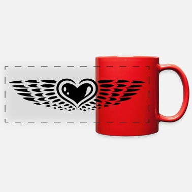 Heart With Wings Heart with wings. Winged heart. - Full Color Panoramic Mug