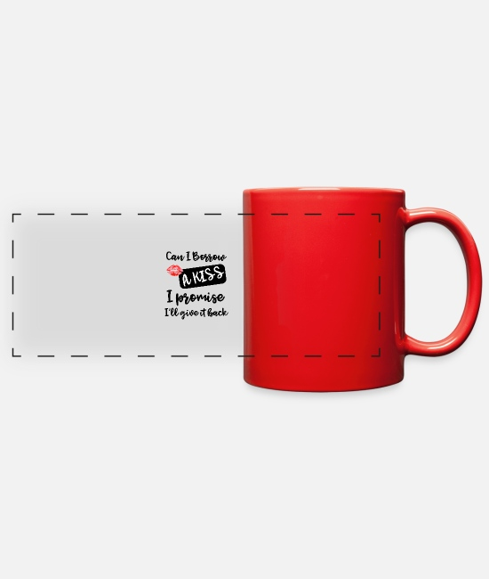 Mugs & Cups - Can I borrow a kiss - Full Color Panoramic Mug red