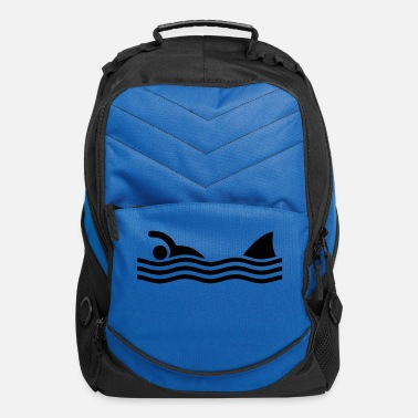 Humour swimmer with shark - Computer Backpack
