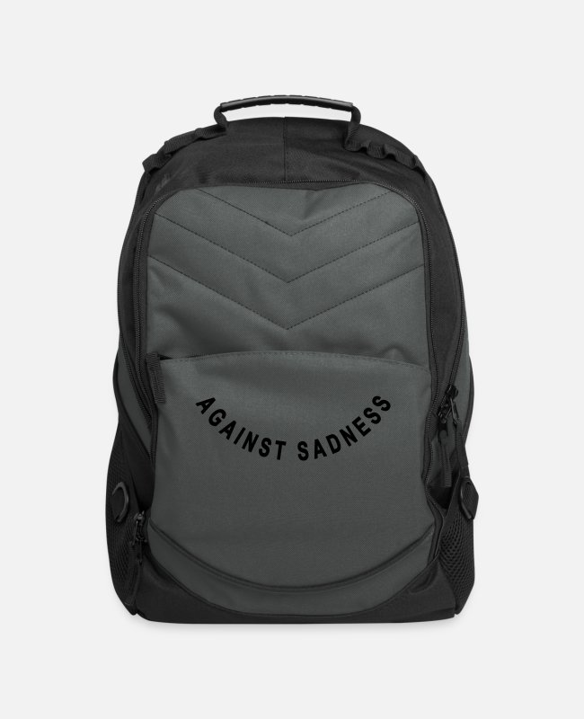 Blessed Bags & Backpacks - against sadness (smile) - Computer Backpack charcoal
