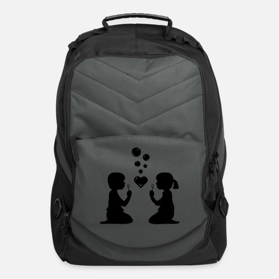 Girl Bags & Backpacks - boy and girl blowing bubbles - Computer Backpack charcoal