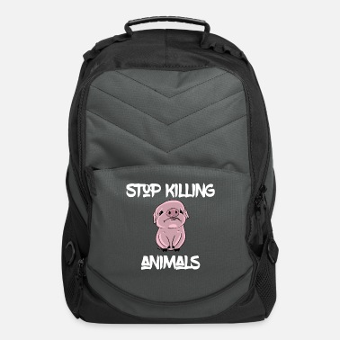 Cow Stop Killing Animals - sad piglet, bacon pig VEGAN - Computer Backpack
