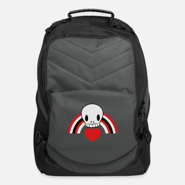 Rainbow Cool Punky EMO skull with heart and rainbow cool! - Computer Backpack