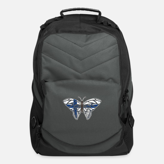National Team Bags & Backpacks - Butterfly Finland Blue Cross Flag - Gift Idea - Computer Backpack charcoal