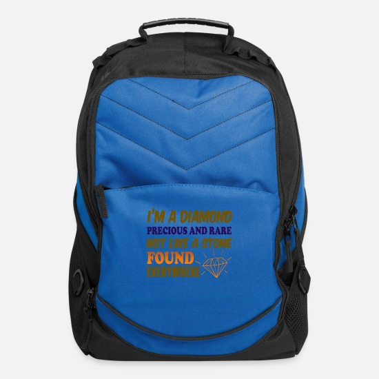 Sarcastic Bags & Backpacks - I'm A Diamond Precious and Rare Like a Stone Foun - Computer Backpack royal blue