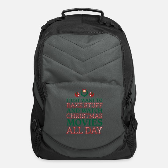 Christmas Bags & Backpacks - I just want to bake stuff shirt - Computer Backpack charcoal