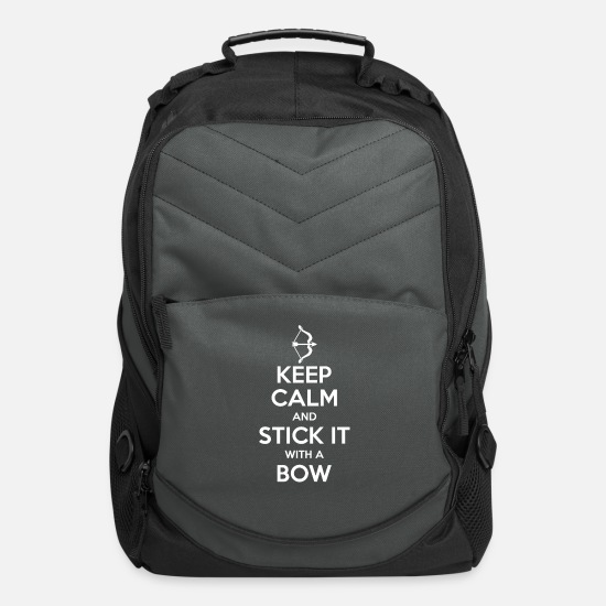 Archery Bags & Backpacks - Keep Calm And Stick It With A Bow - Computer Backpack charcoal