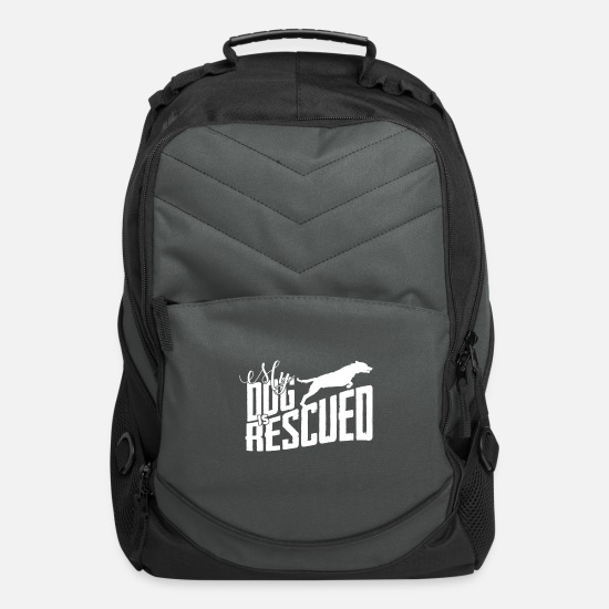 Dogs Bags & Backpacks - rescued dog rescuing dogs gift - Computer Backpack charcoal