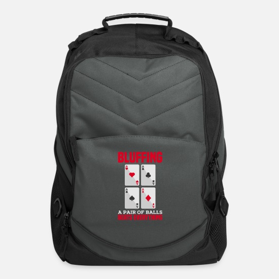 Slot Bags & Backpacks - POKER GIFT: Bluffing A Pair of Balls - Computer Backpack charcoal