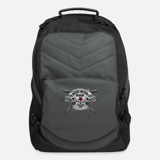 Metal Bags & Backpacks - Heavy Metal Rock Skull - Computer Backpack charcoal