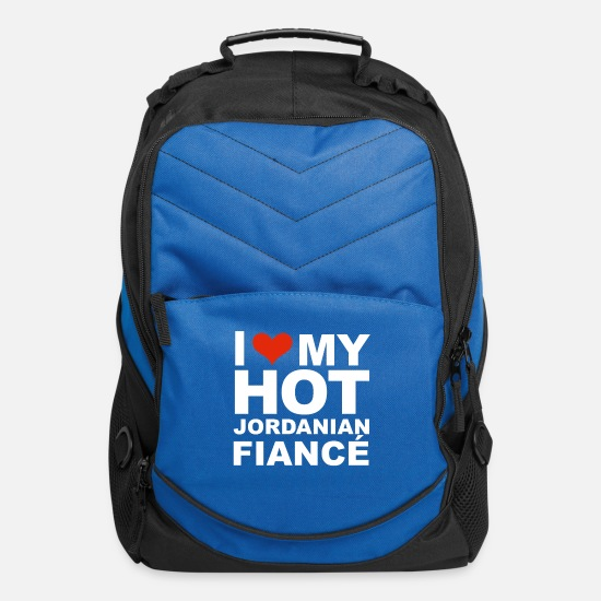 Engagement Bags & Backpacks - I Love my hot Jordanian Fiance Engaged Engagement - Computer Backpack royal blue