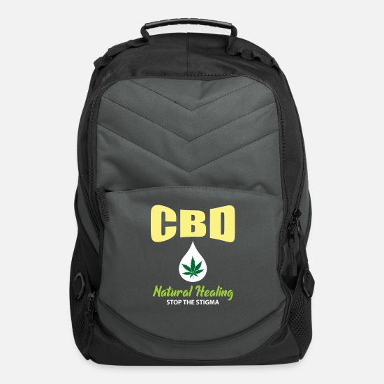 Healing Bags & Backpacks - CBD Hemp Heals Alternative Healing Stop The Stigma - Computer Backpack charcoal