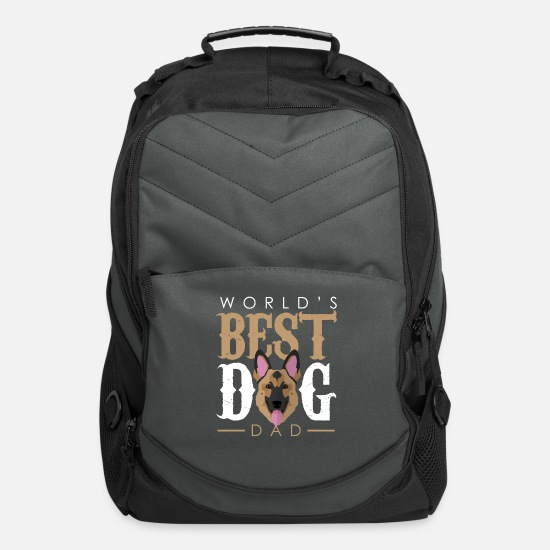 Dog Friend Bags & Backpacks - World's Best Dog Dad - German Shepherd - Computer Backpack charcoal