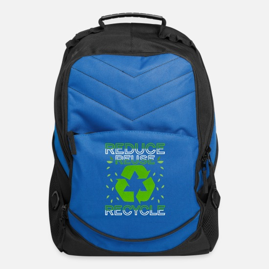 Recycle Bags & Backpacks - Reduce Reuse Recycle Environmental - Computer Backpack royal blue