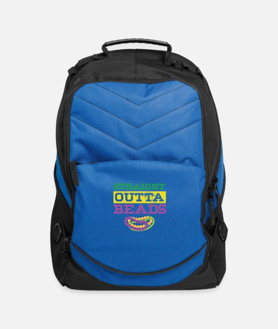 Celebrate Bags & Backpacks - Straight Outta Beads Mardi Gras Street Party Gift - Computer Backpack royal blue