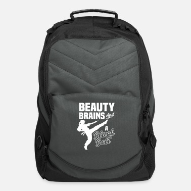 Self Defense Taekwondo Girl Brain Belt Gift - Computer Backpack