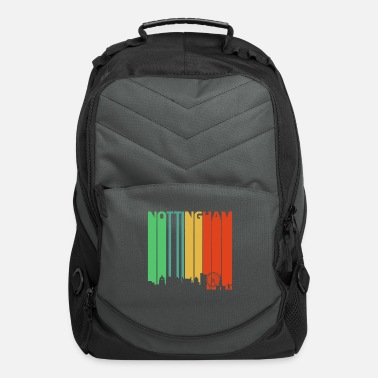 Nottinghamshire Vintage Retro Nottingham Skyline. Cityscape Gifts - Computer Backpack