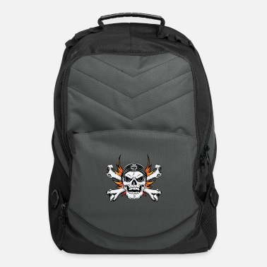 Skull Crossbones with Flaming Wings - Computer Backpack