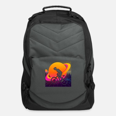 Outline Mountain Biking Retrowave Synthwave Gift - Computer Backpack
