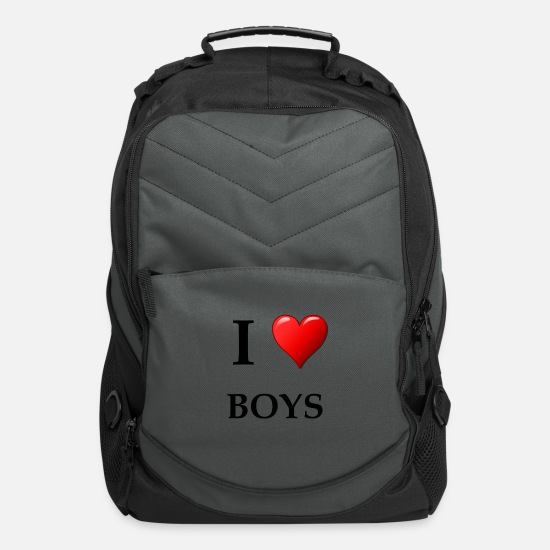 Happy Bags & Backpacks - I love boys statement shirt - Computer Backpack charcoal