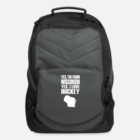 Wisconsin Bags & Backpacks - wisconsin hockey - Computer Backpack charcoal